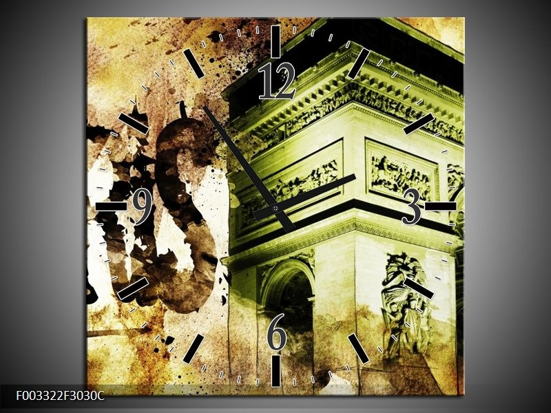 Wandklok op Canvas Parijs   Kleur: Bruin, Groen, Wit   F003322C