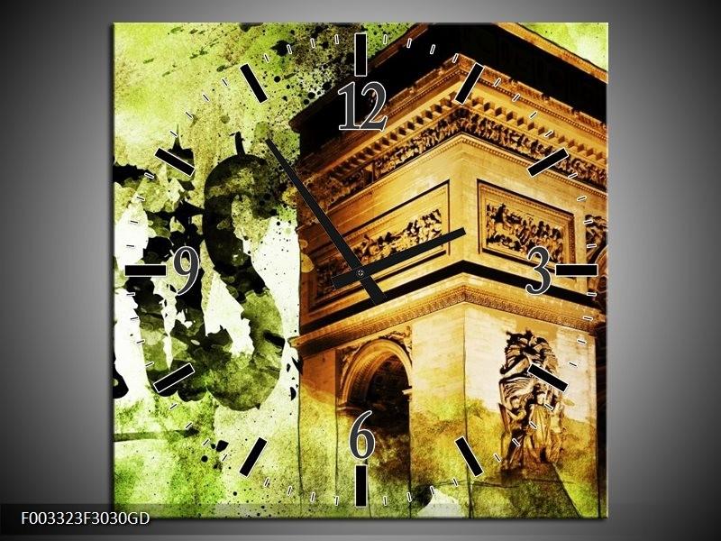 Wandklok op Glas Parijs   Kleur: Bruin, Groen, Wit   F003323CGD