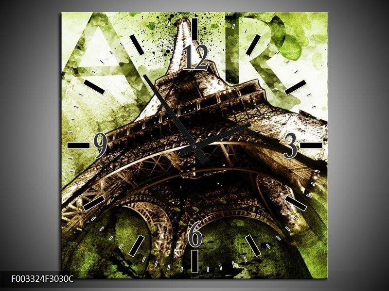 Wandklok op Canvas Eiffeltoren   Kleur: Groen, Bruin   F003324C