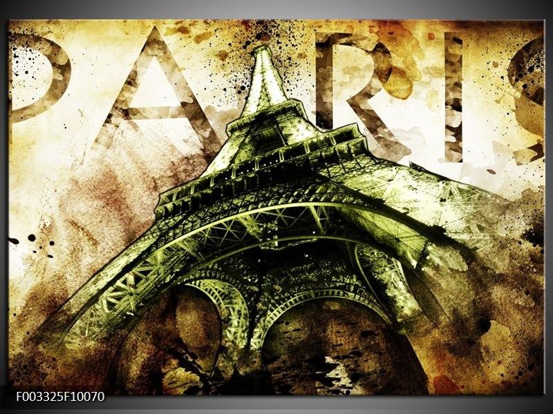 Glas schilderij Eiffeltoren   Groen, Bruin