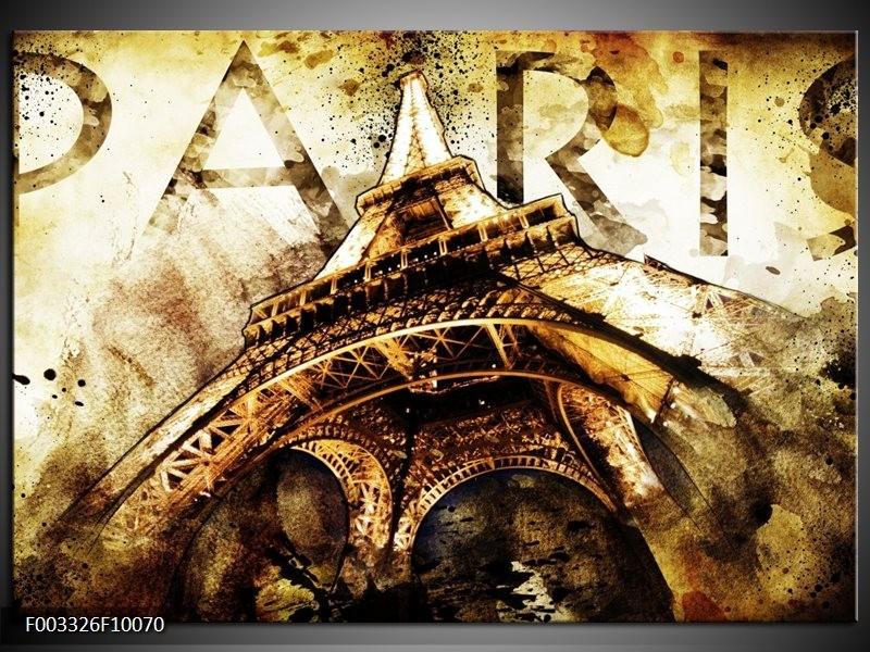 Foto canvas schilderij Eiffeltoren   Wit, Bruin