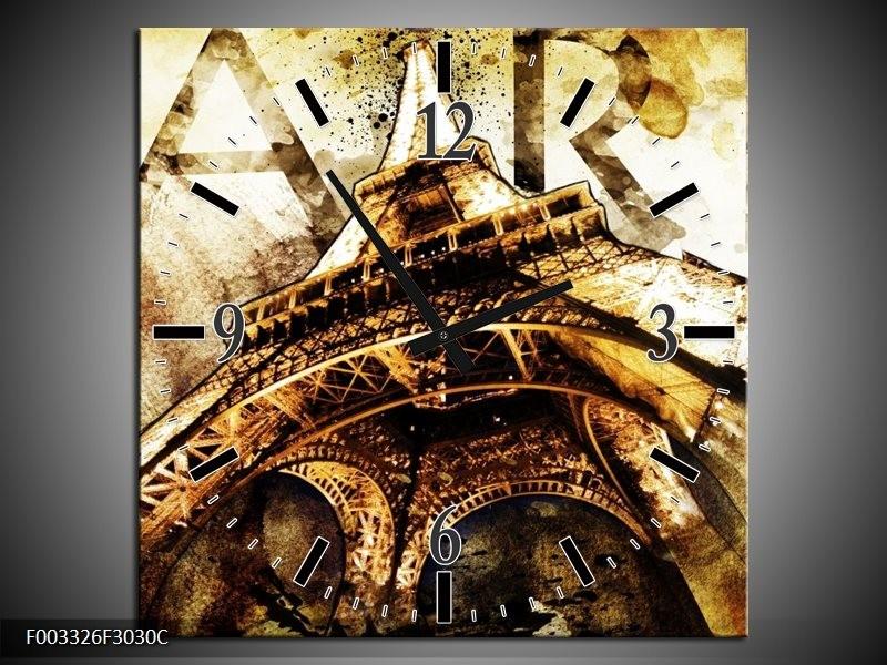 Wandklok op Canvas Eiffeltoren | Kleur: Wit, Bruin | F003326C