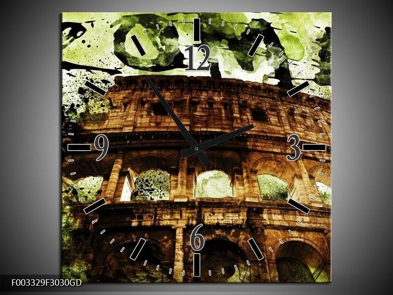 Wandklok op Glas Rome | Kleur: Groen, Bruin, Zwart | F003329CGD