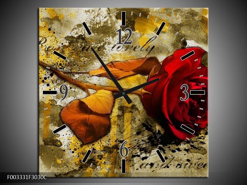 Wandklok op Canvas Roos | Kleur: Rood, Bruin, Geel | F003331C