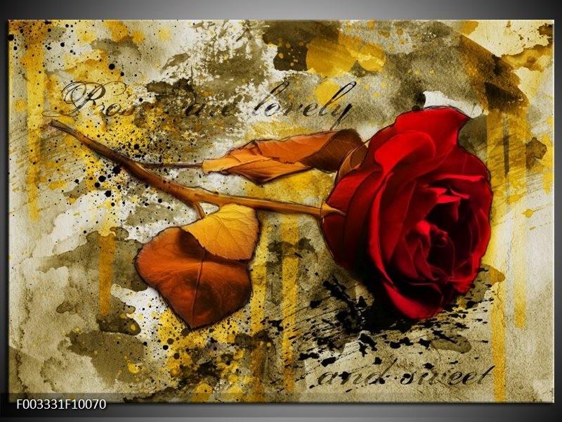 Glas schilderij Roos | Rood, Bruin, Geel
