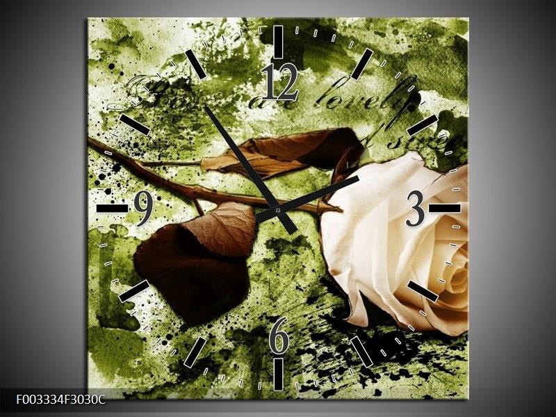 Wandklok op Canvas Roos | Kleur: Groen, Bruin, Wit | F003334C