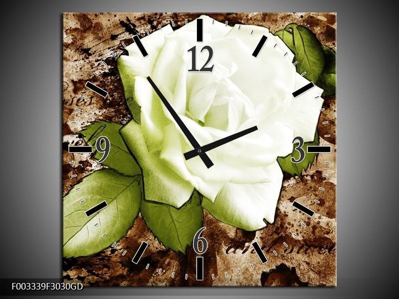 Wandklok op Glas Roos | Kleur: Bruin, Wit, Groen | F003339CGD
