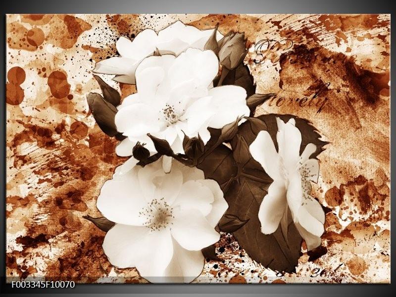 Glas schilderij Bloem | Bruin, Wit, Sepia