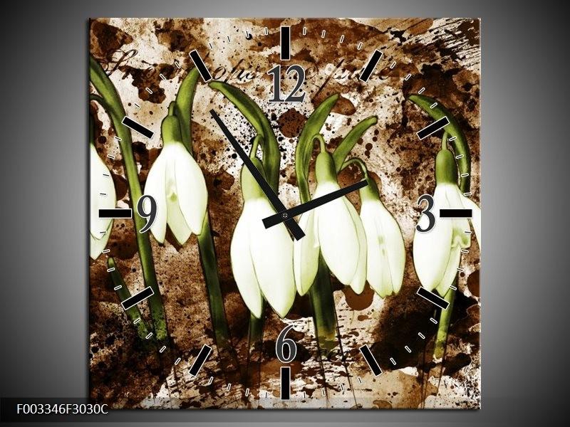 Wandklok op Canvas Bloem   Kleur: Groen, Bruin, Wit   F003346C