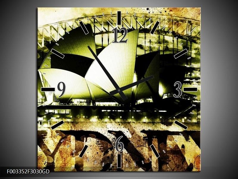 Wandklok op Glas Sydney | Kleur: Groen, Bruin, Zwart | F003352CGD
