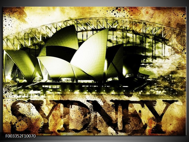 Glas schilderij Sydney | Groen, Bruin, Zwart