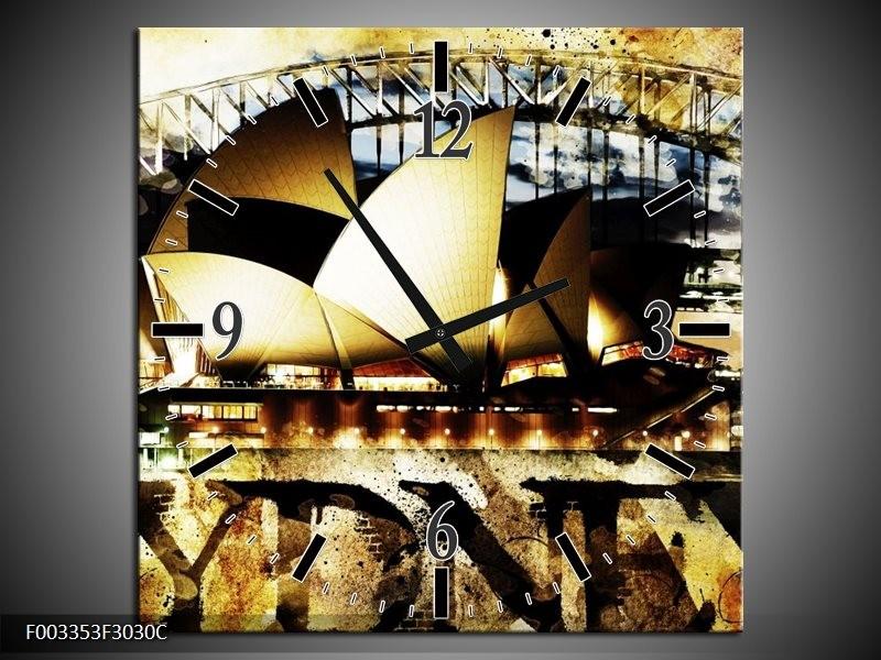 Wandklok op Canvas Sydney | Kleur: Geel, Bruin, Zwart | F003353C