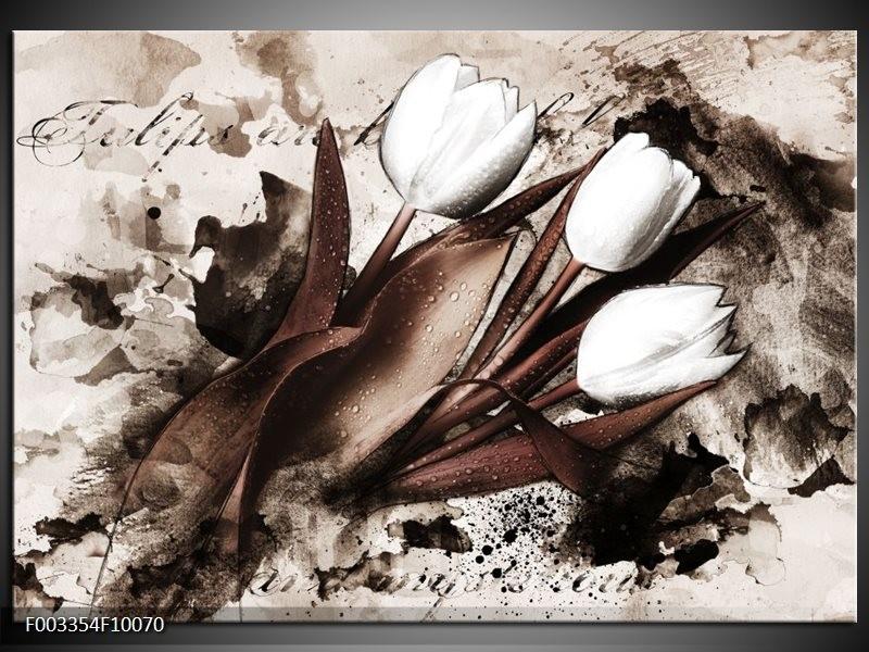 Foto canvas schilderij Tulpen   Bruin, Zwart, Wit