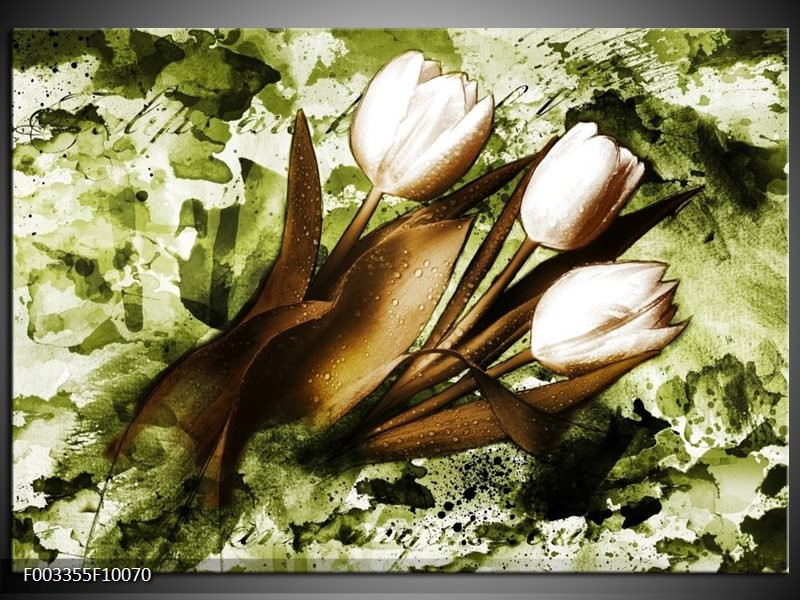 Glas schilderij Tulpen | Groen, Bruin, Wit