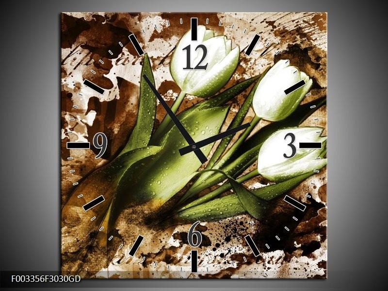 Wandklok op Glas Tulpen | Kleur: Groen, Bruin, Wit | F003356CGD