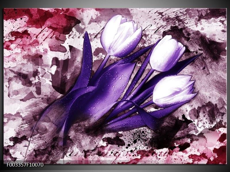 Foto canvas schilderij Tulpen | Paars, Wit, Roze