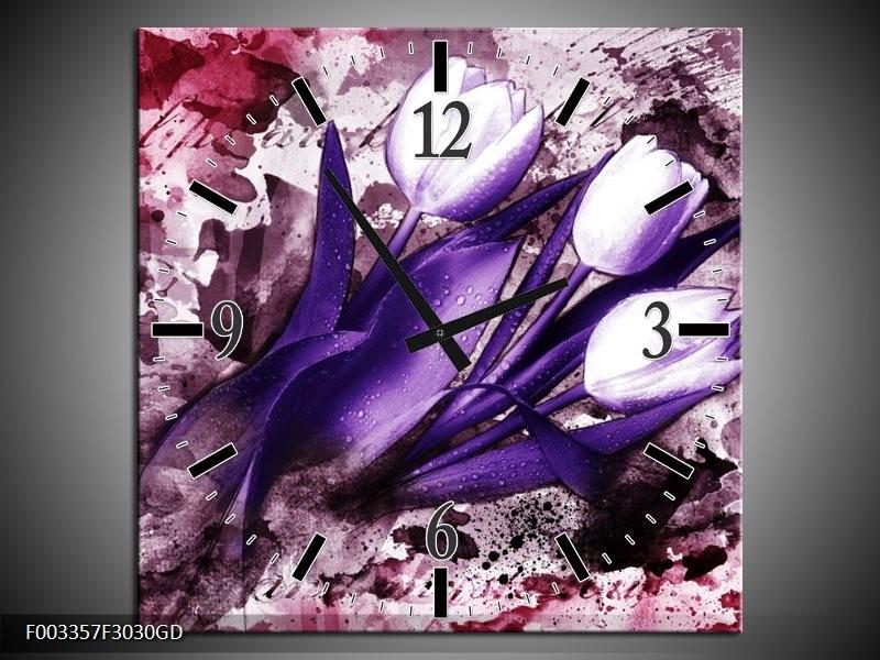 Wandklok op Glas Tulpen | Kleur: Paars, Wit, Roze | F003357CGD