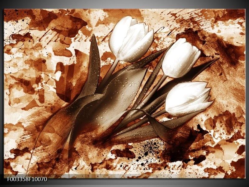 Foto canvas schilderij Tulpen | Bruin, Wit