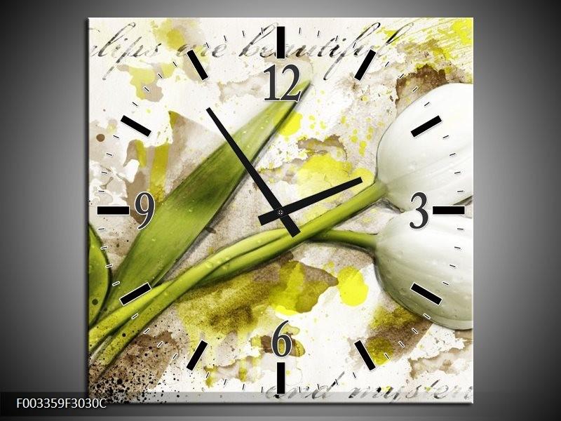 Wandklok op Canvas Tulpen | Kleur: Groen, Wit, Geel | F003359C