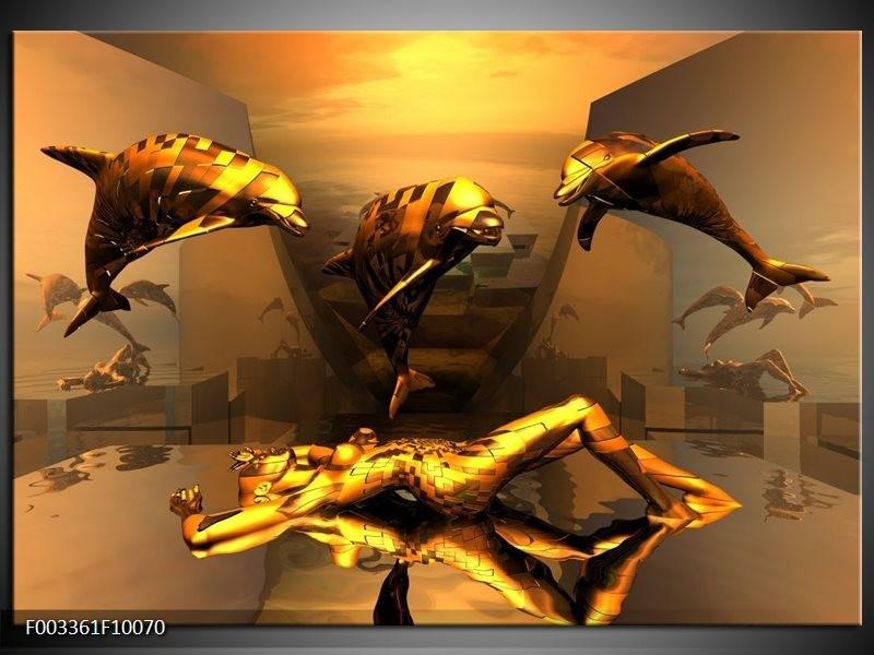 Foto canvas schilderij Dolfijn | Goud, Geel, Bruin