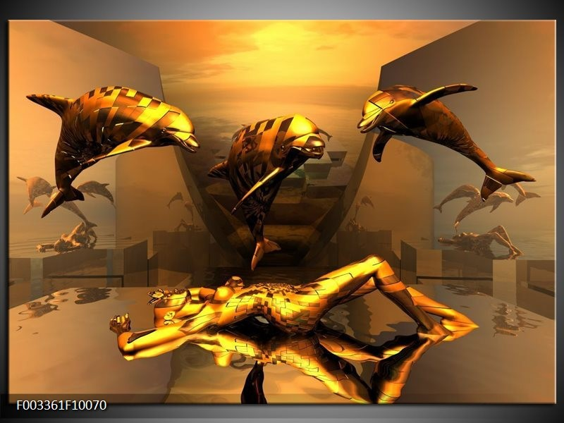 Glas schilderij Dolfijn   Goud, Geel, Bruin