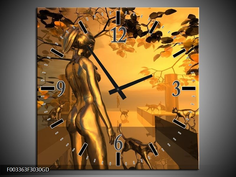 Wandklok op Glas Abstract | Kleur: Goud, Geel, Bruin | F003363CGD