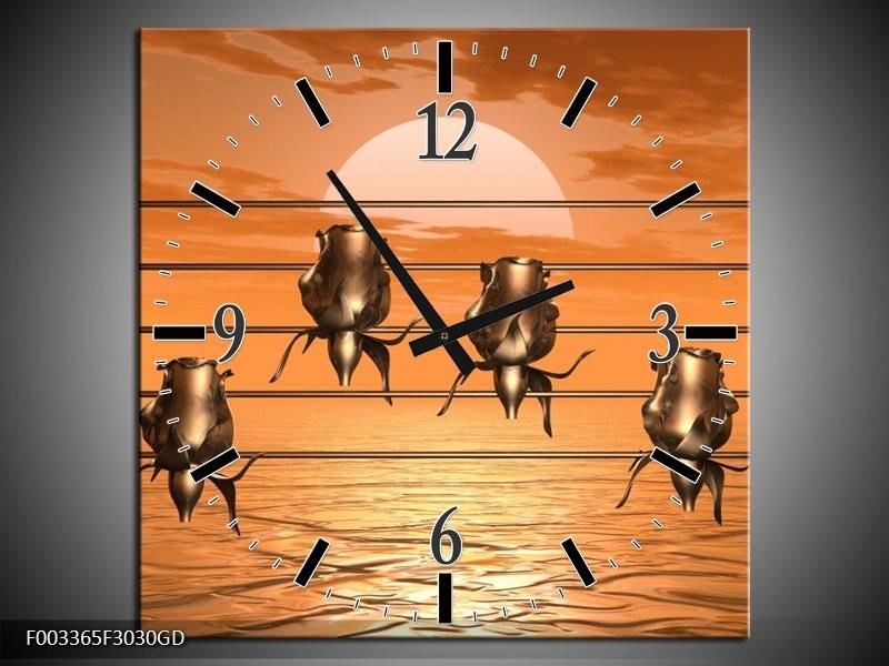 Wandklok op Glas Muziek | Kleur: Goud, Geel, Bruin | F003365CGD