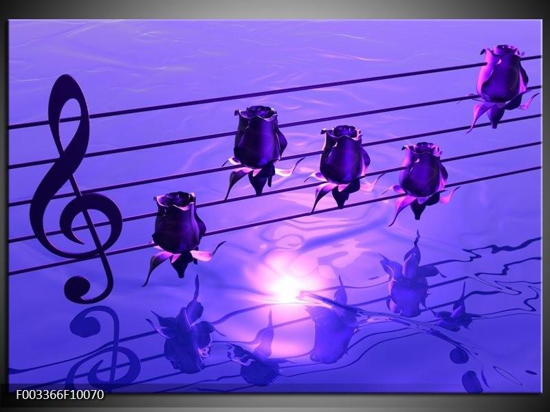 Glas schilderij Muziek   Paars, Wit