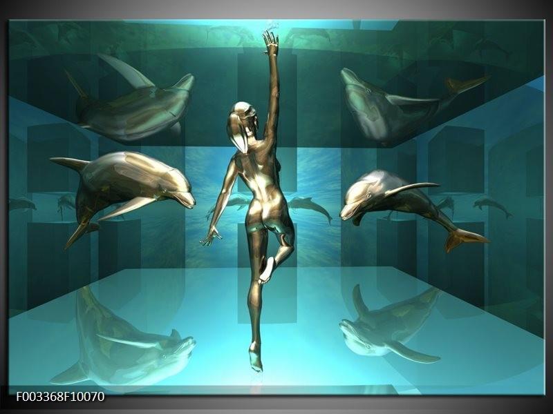 Foto canvas schilderij Dolfijn   Blauw, Goud, Bruin