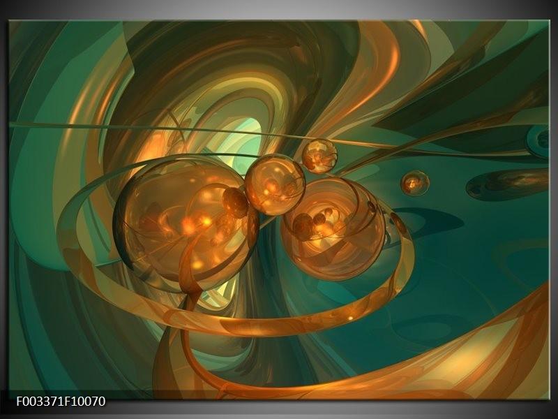 Foto canvas schilderij Abstract | Blauw, Goud, Bruin