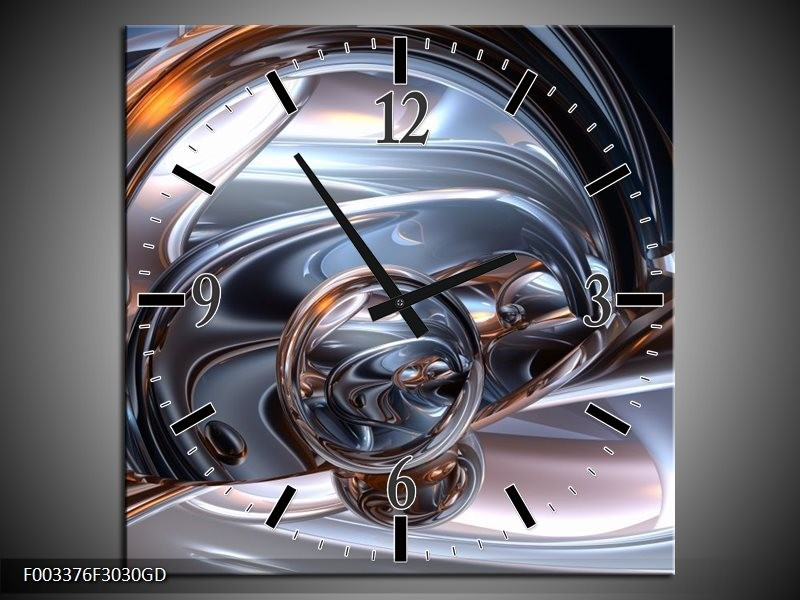 Wandklok op Glas Abstract | Kleur: Zilver, Zwart, Wit | F003376CGD