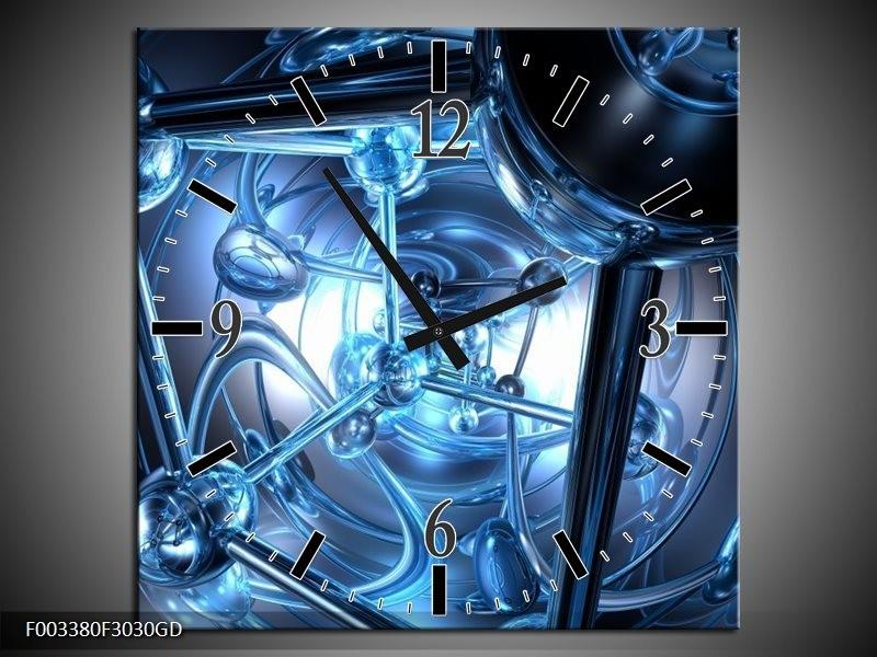 Wandklok op Glas Abstract | Kleur: Blauw, Wit, Zwart | F003380CGD