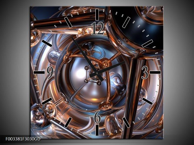 Wandklok op Glas Abstract   Kleur: Grijs, Wit, Blauw   F003381CGD