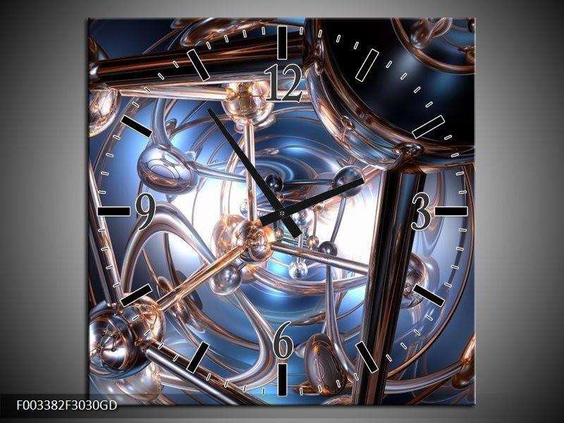 Wandklok op Glas Abstract | Kleur: Blauw, Grijs, Wit | F003382CGD