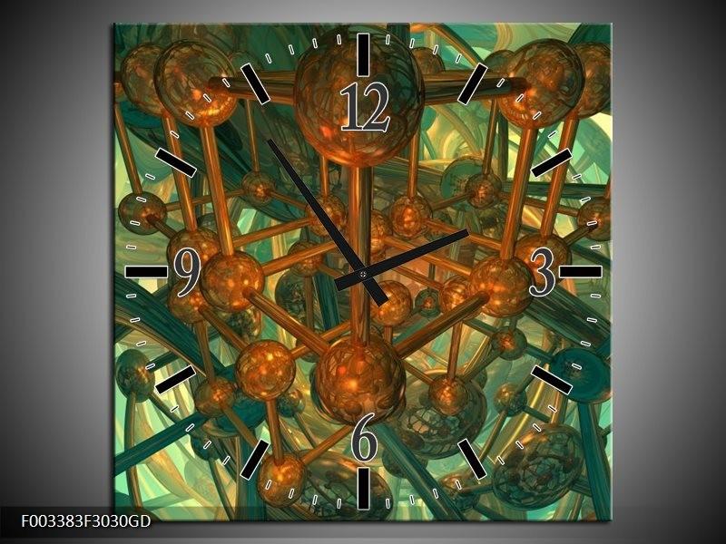 Wandklok op Glas Abstract | Kleur: Groen, Bruin | F003383CGD