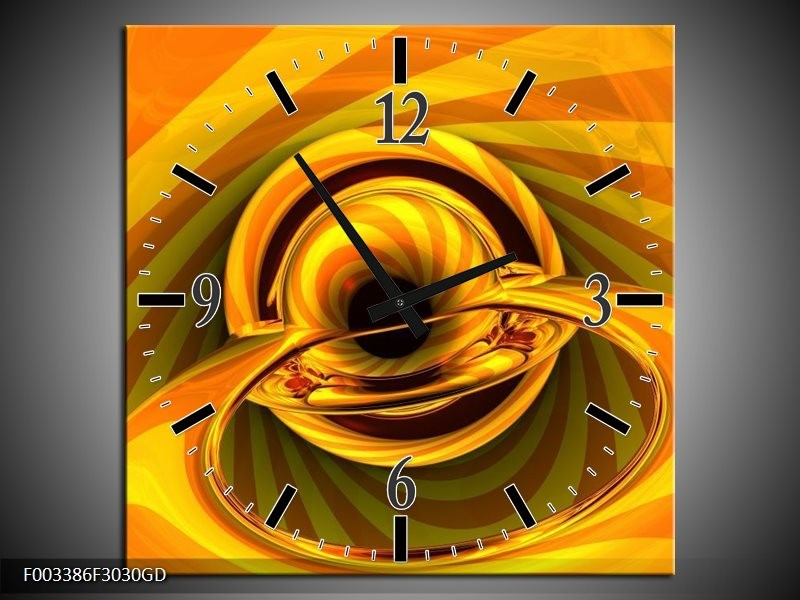 Wandklok op Glas Abstract   Kleur: Geel, Goud, Zwart   F003386CGD