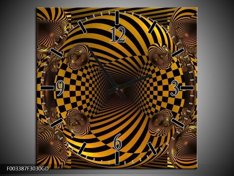 Wandklok op Glas Abstract   Kleur: Geel, Zwart   F003387CGD