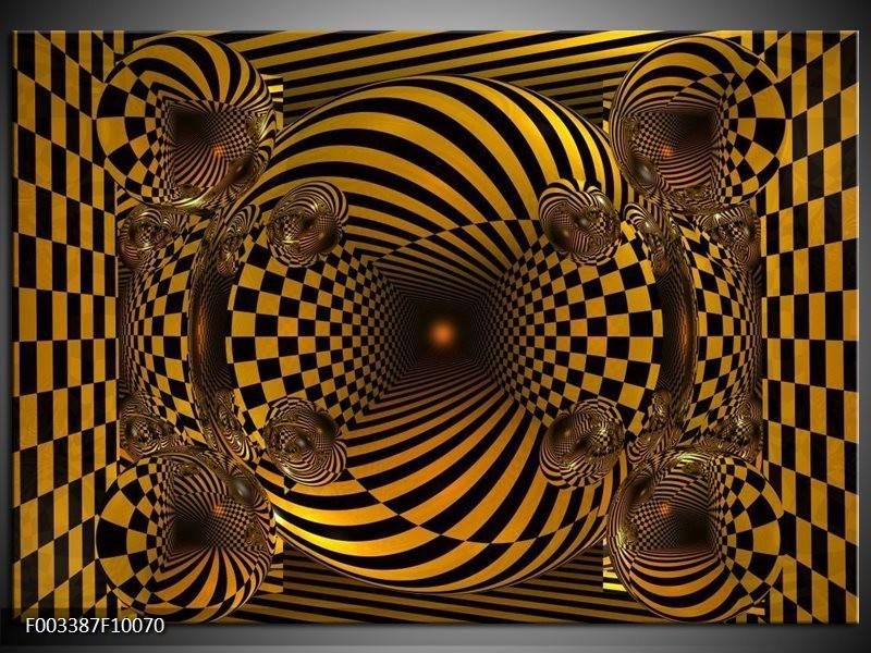 Glas schilderij Abstract | Geel, Zwart