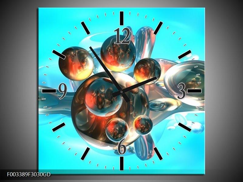 Wandklok op Glas Abstract | Kleur: Blauw, Bruin, Wit | F003389CGD