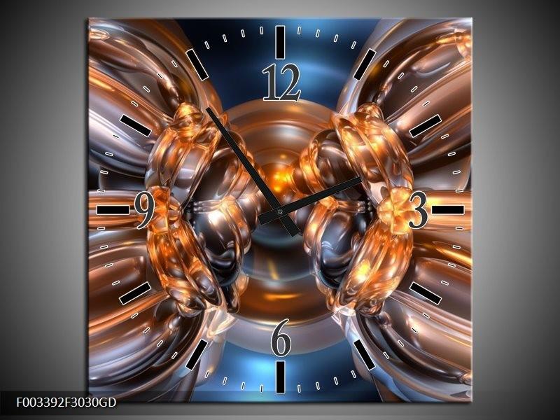 Wandklok op Glas Abstract | Kleur: Bruin, Goud, Blauw | F003392CGD