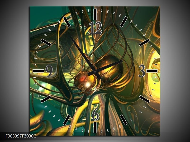 Wandklok op Canvas Abstract   Kleur: Groen, Geel, Goud   F003397C