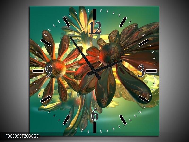 Wandklok op Glas Bloem | Kleur: Groen, Geel, Rood | F003399CGD