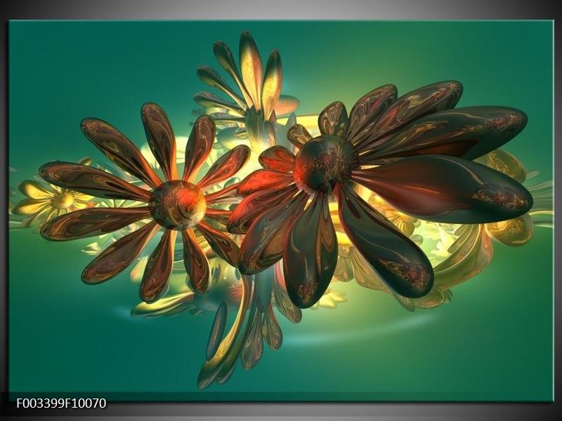 Glas schilderij Bloem | Groen, Geel, Rood