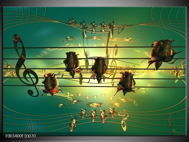 Foto canvas schilderij Muziek | Blauw, Zwart, Geel