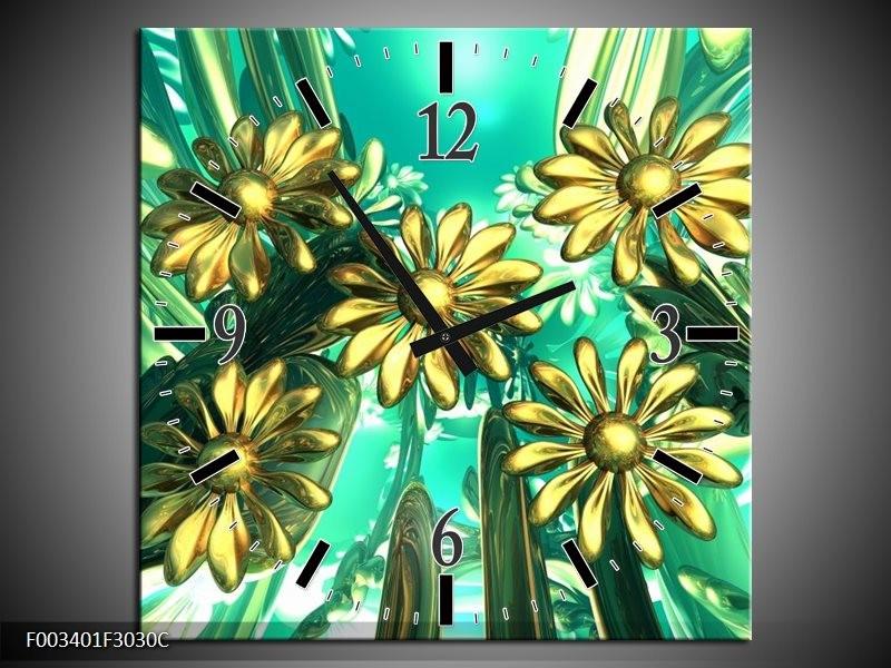 Wandklok op Canvas Bloem | Kleur: Blauw, Geel, Wit | F003401C