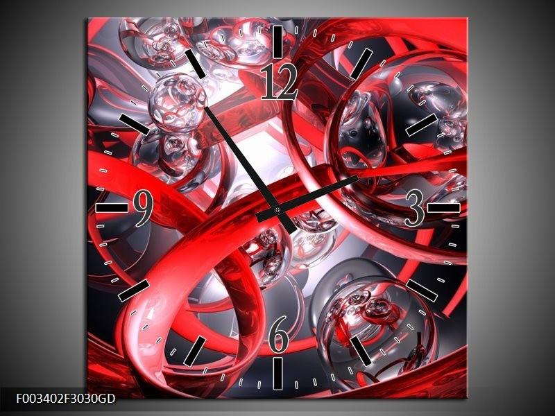 Wandklok op Glas Abstract | Kleur: Rood, Zwart, Wit | F003402CGD