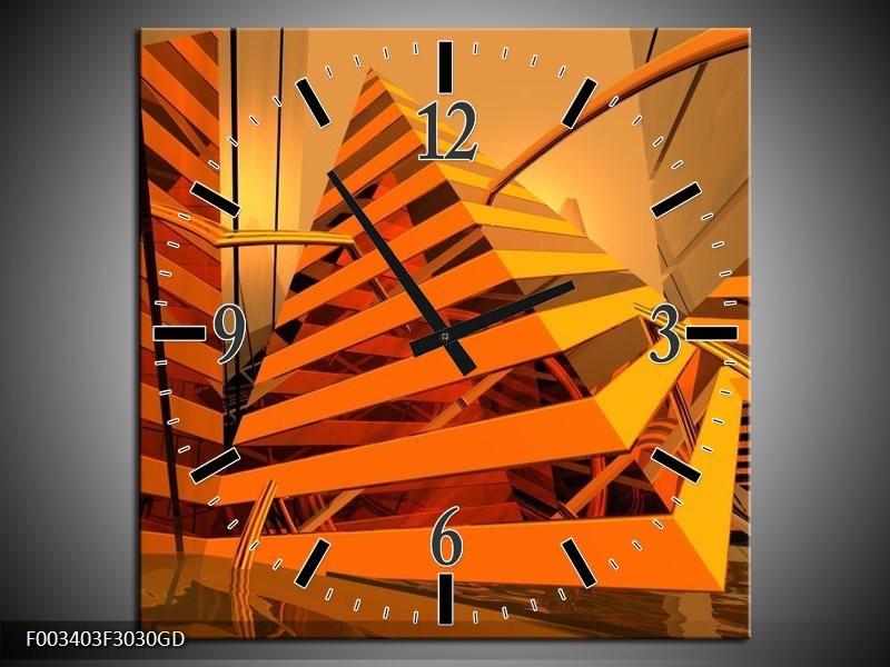 Wandklok op Glas Abstract | Kleur: Geel, Oranje, Bruin | F003403CGD