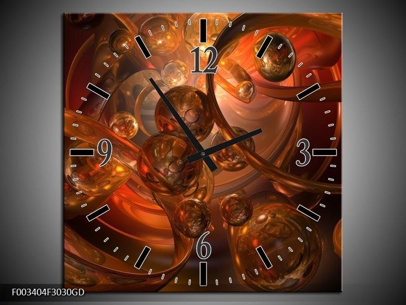 Wandklok op Glas Abstract | Kleur: Geel, Oranje, Bruin | F003404CGD