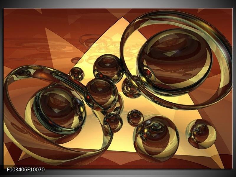 Glas schilderij Abstract | Crème , Bruin