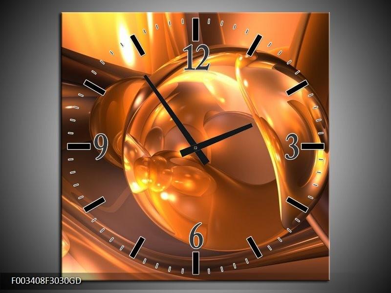 Wandklok op Glas Abstract   Kleur: Geel, Bruin, Goud   F003408CGD